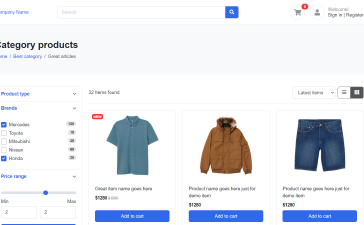 Reactjs Ecommerce Template Free - Product Listing Page Grid View