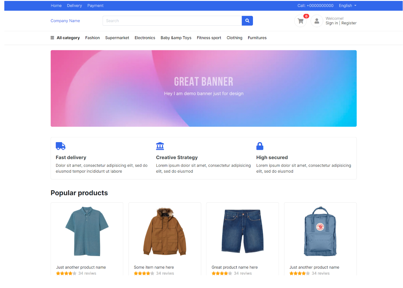 Reactjs Ecommerce Templates Free - Template 1