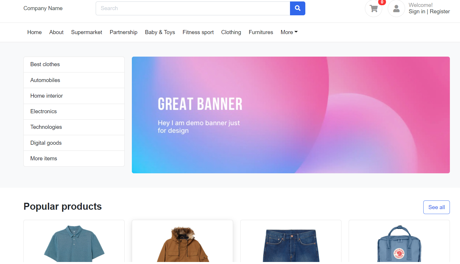 Vuejs Ecommerce Site Home Page Template Free