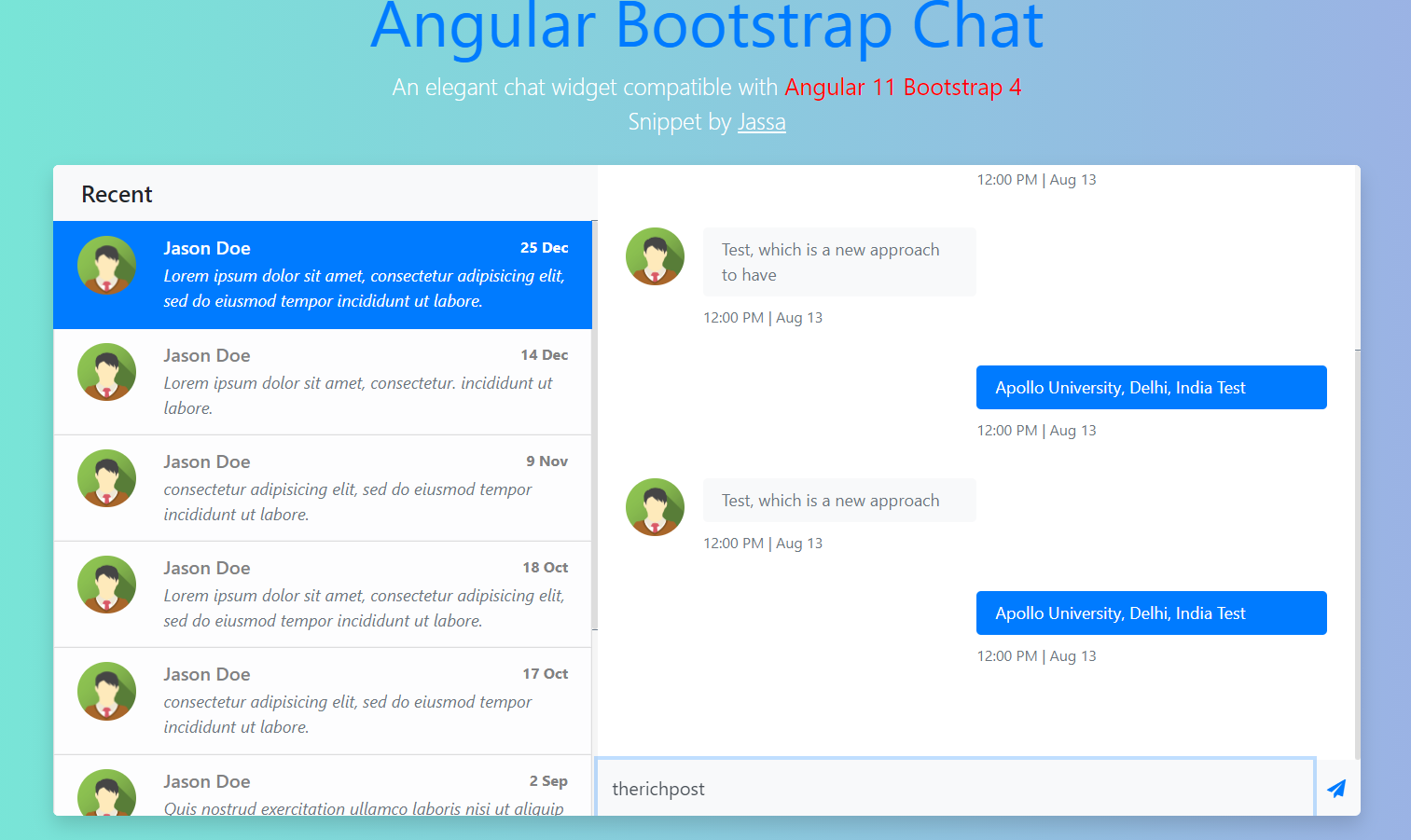 Angular 11 Bootstrap 4 Chat Widget