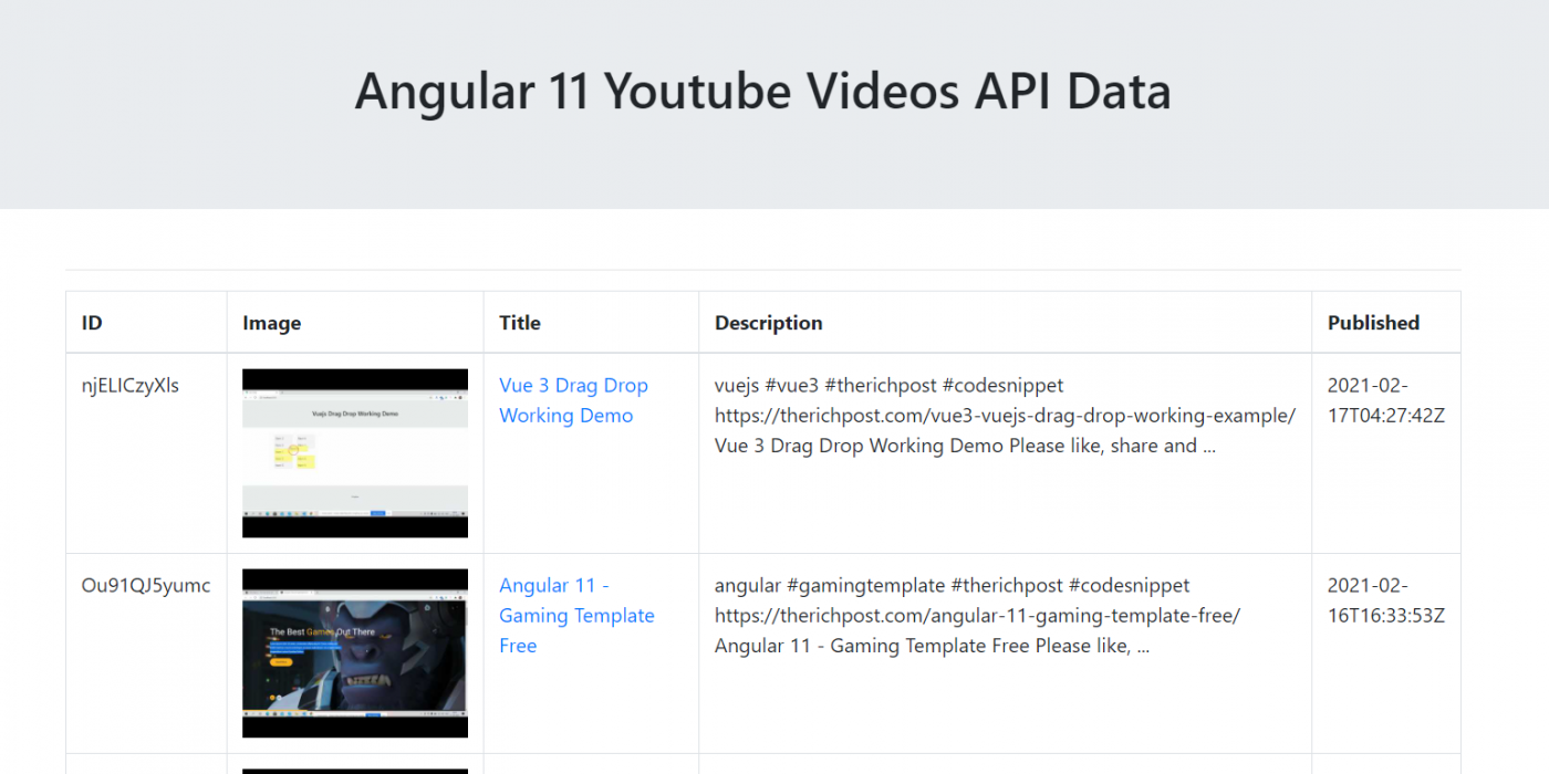 Angular 11 Bootstrap Table with YouTube Videos API Json Data