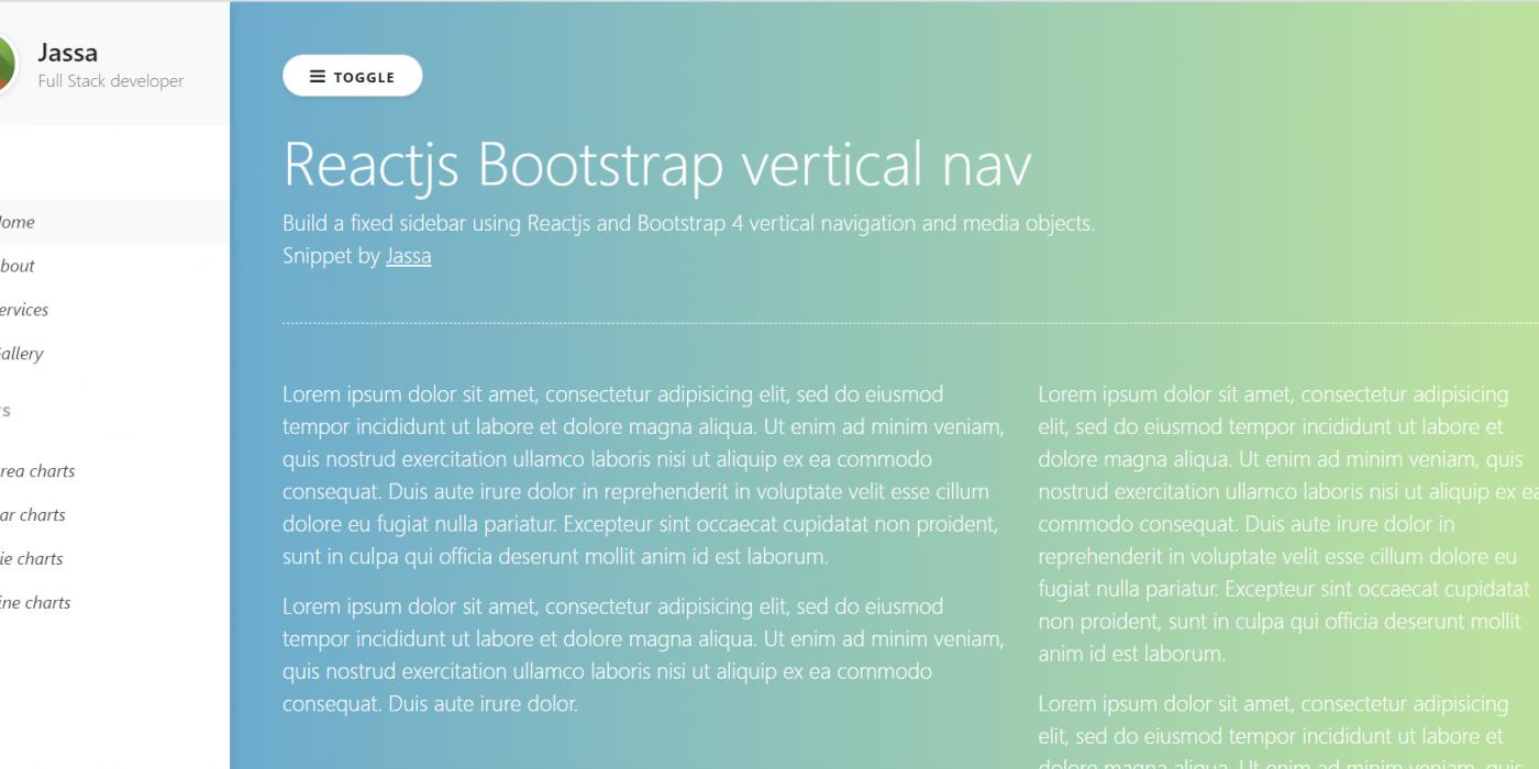 Build a fixed sidebar using Reactjs and Bootstrap 4 vertical navigation