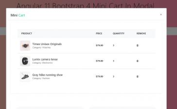 Angular 11 Bootstrap 4 Mini Cart Inside Modal