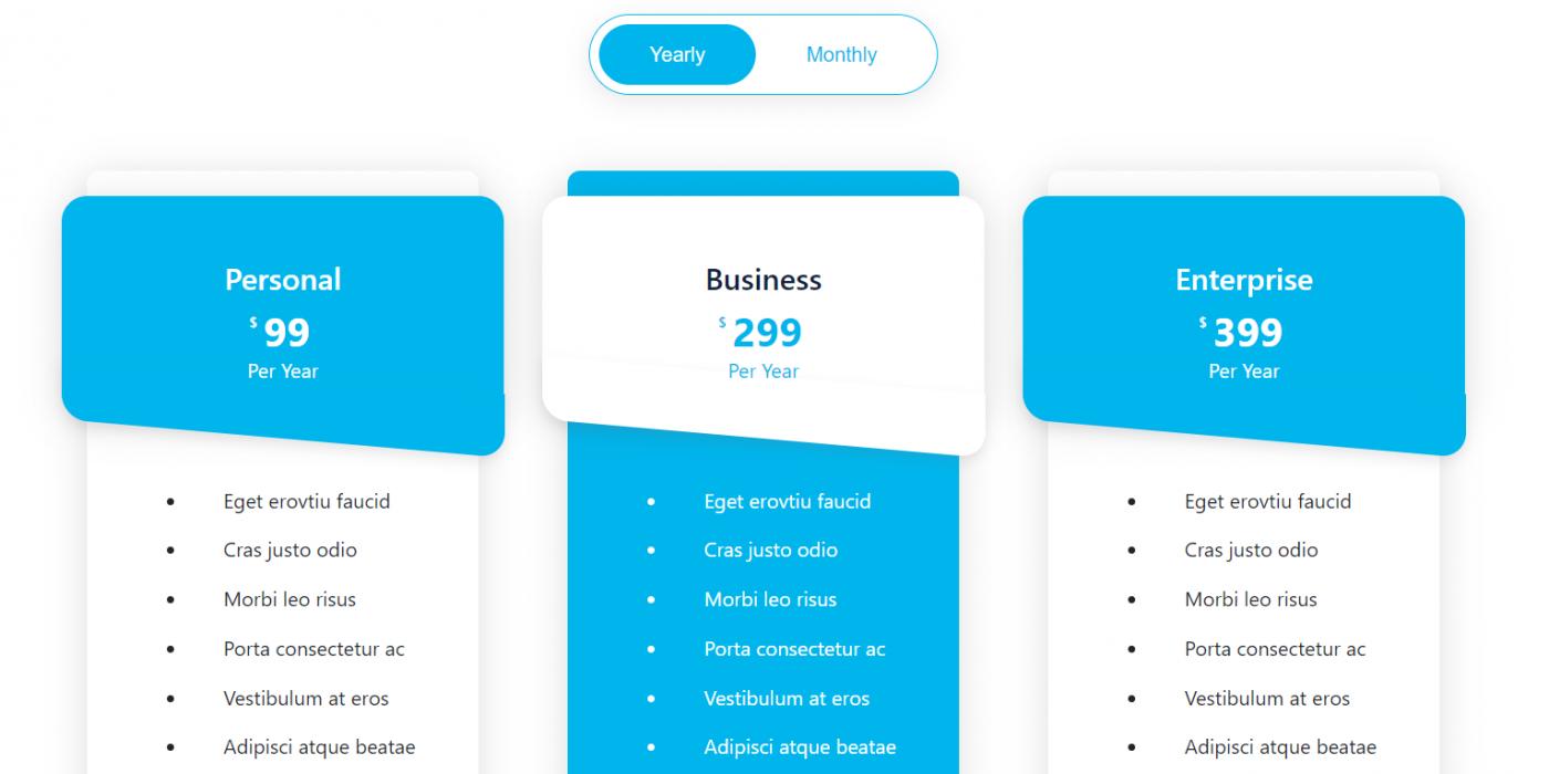 Angular 11 Bootstrap 4 Modern Price Section