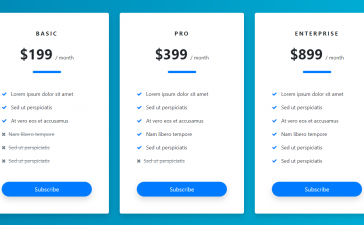 Angular 11 Bootstrap 4 Pricing Table Code Snippets