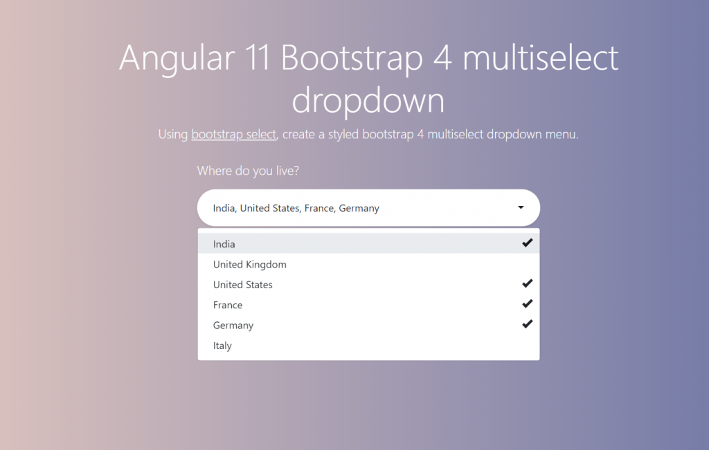 Angular 11 Multiselect Dropdown Working