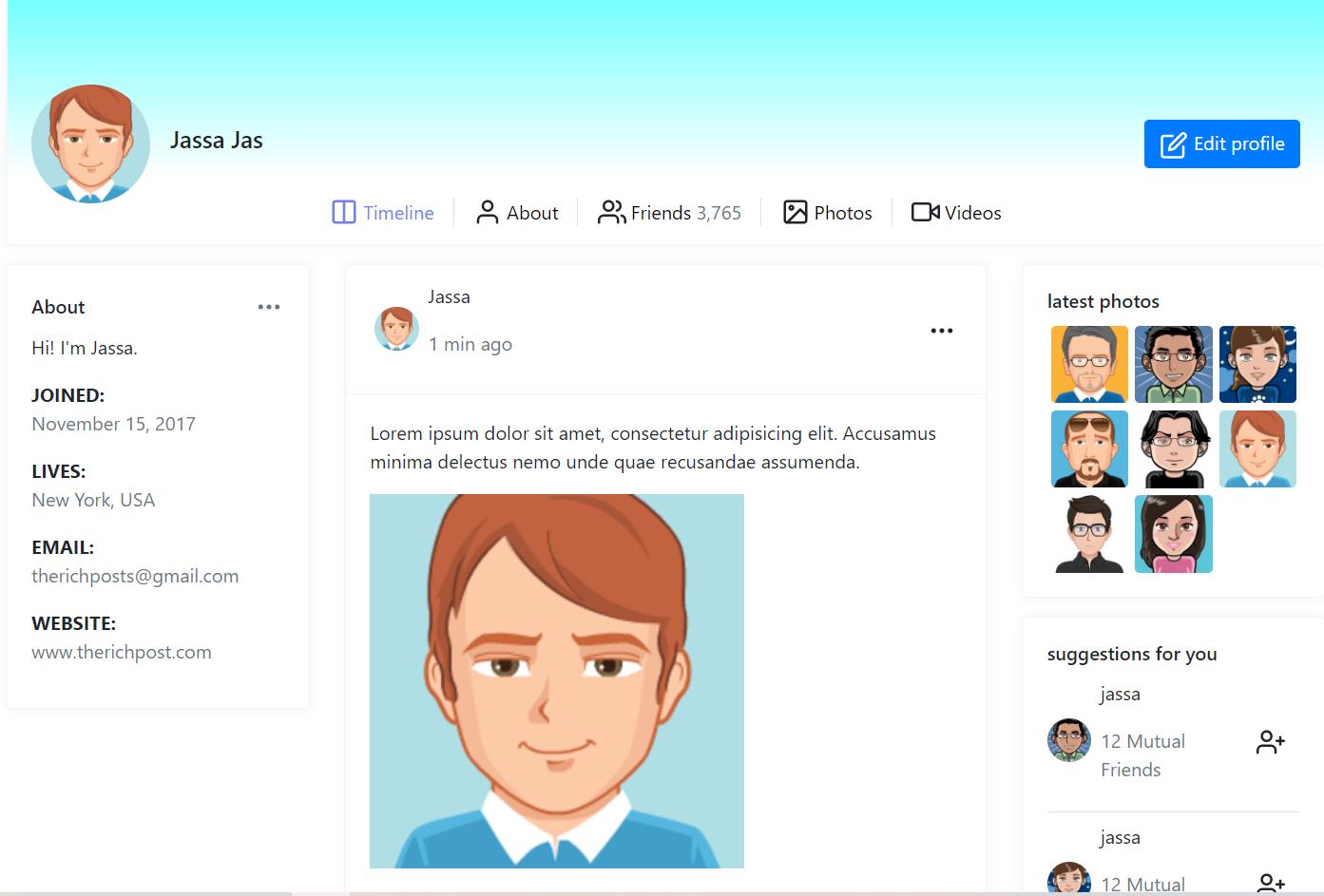Laravel 8 Bootstrap 4 Social Network User Profile