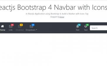 Reactjs Bootstrap 4 Navbar with Icons Top