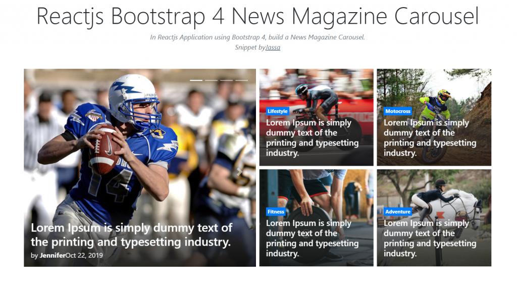 Reactjs Bootstrap 4 News Magazine Carousel
