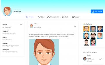 Reactjs Bootstrap 4 Social Network User Profile