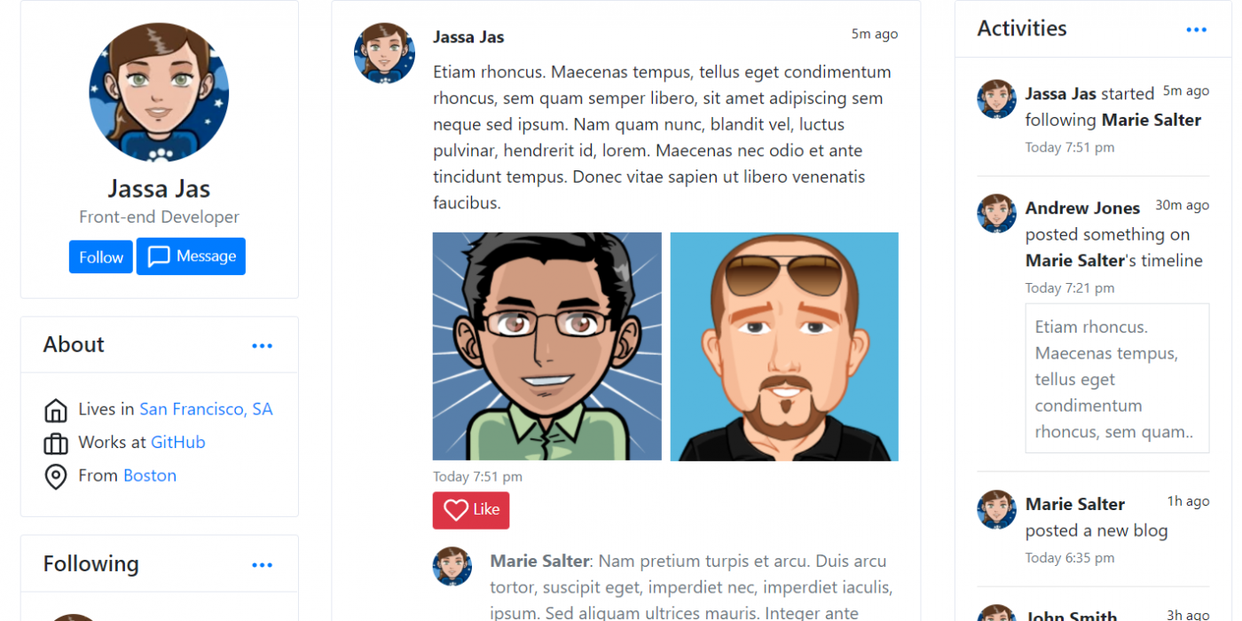Reactjs Social Profile Free Template