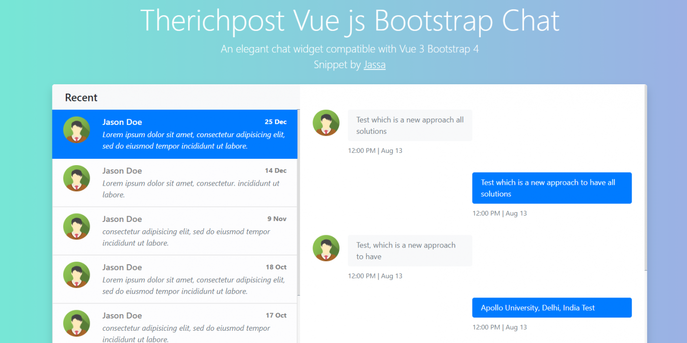 Vue Js Bootstrap 4 Chat Widget