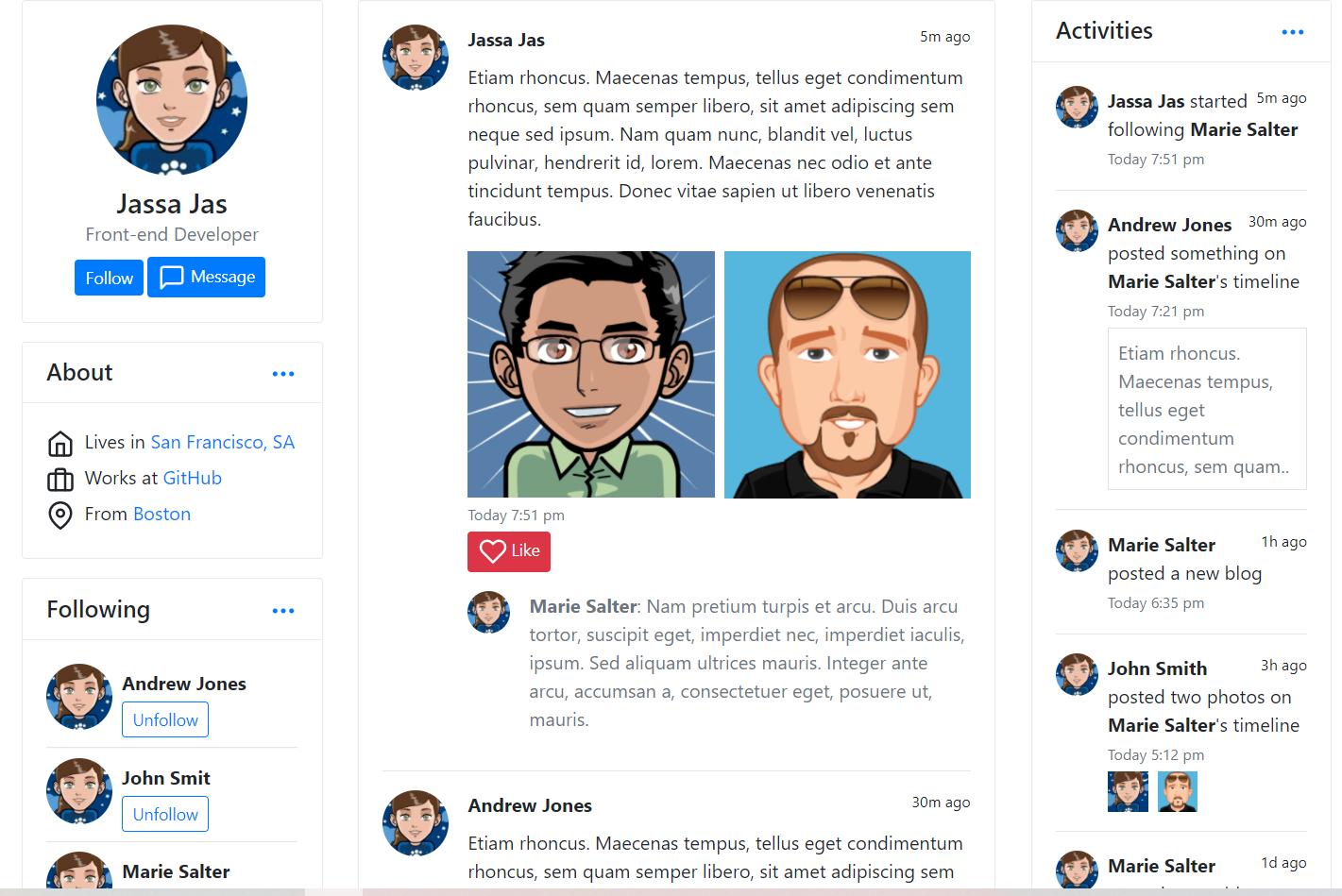 Vuejs Social Profile Free Template