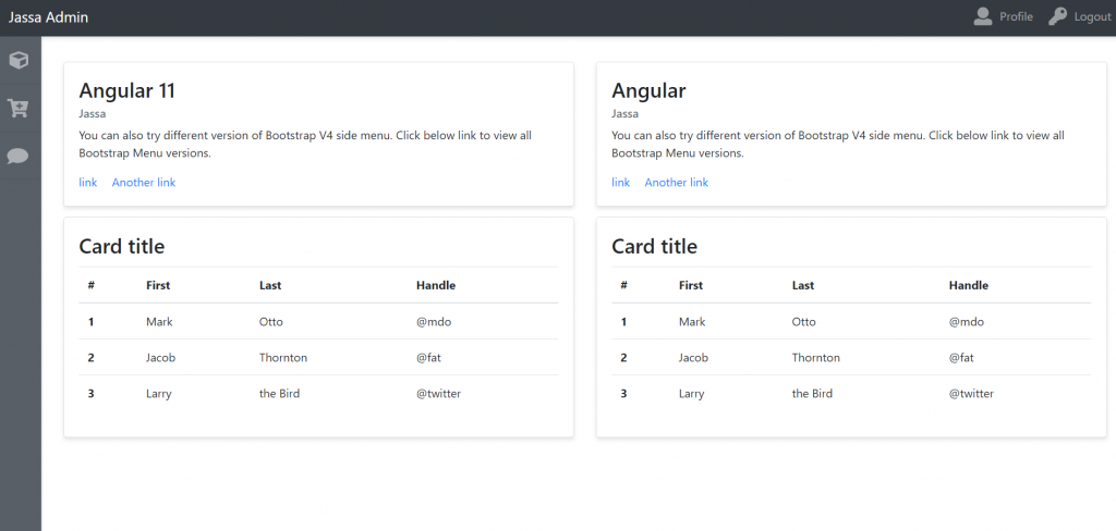 Angular 11 Admin Dashboard Template Simple and Free