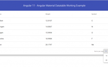 Angular 11 - Angular Material Datatable Working Example