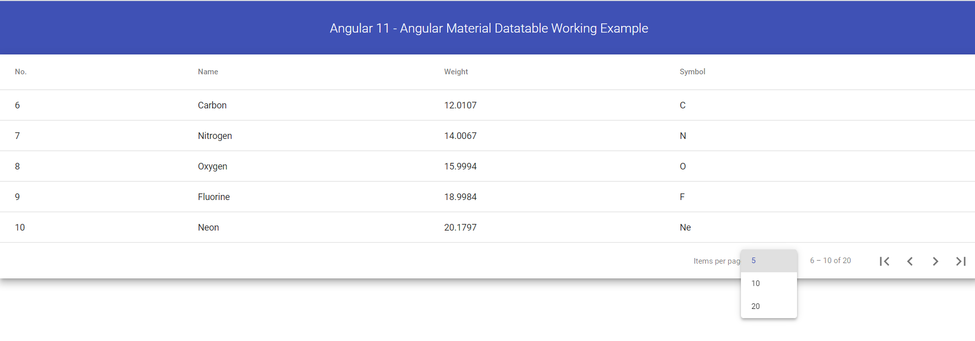 Angular 11 - Angular Material Datatable Working Example
