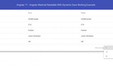 Angular 11 - Angular Material Data table with Dynamic Data