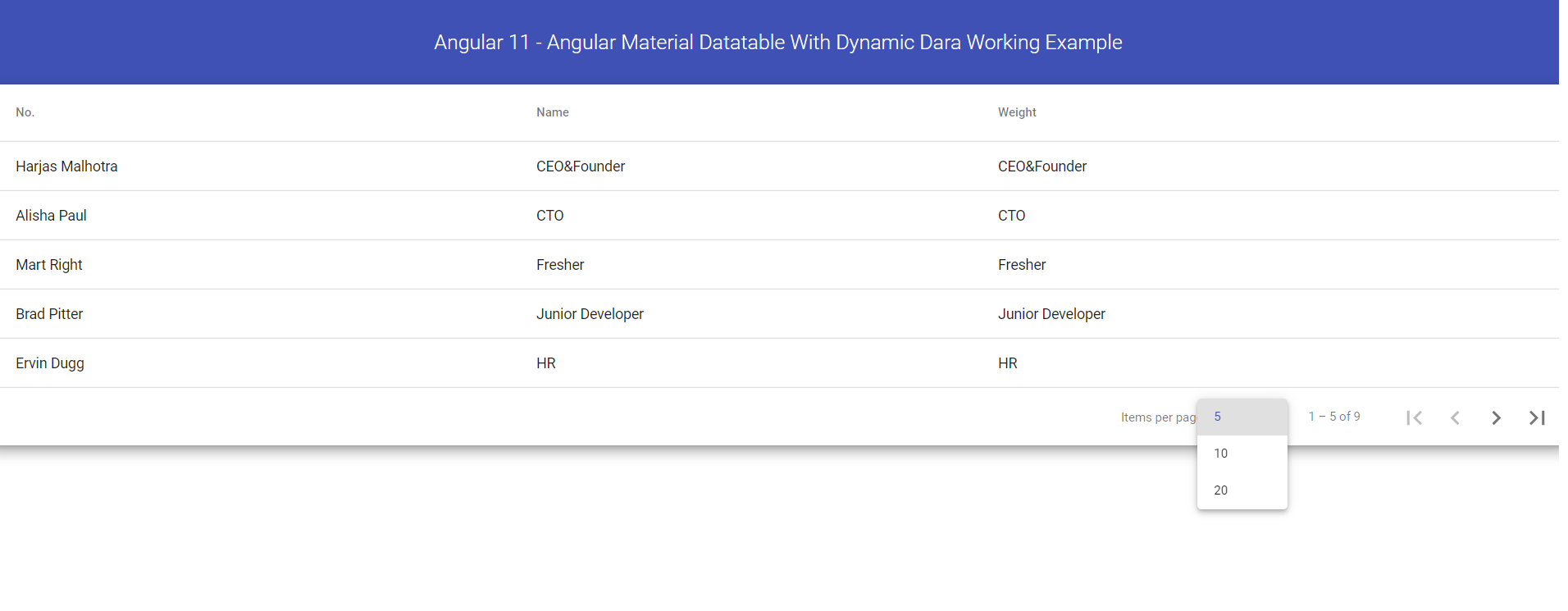 Angular 11 - Angular Material Data table with Dynamic Data