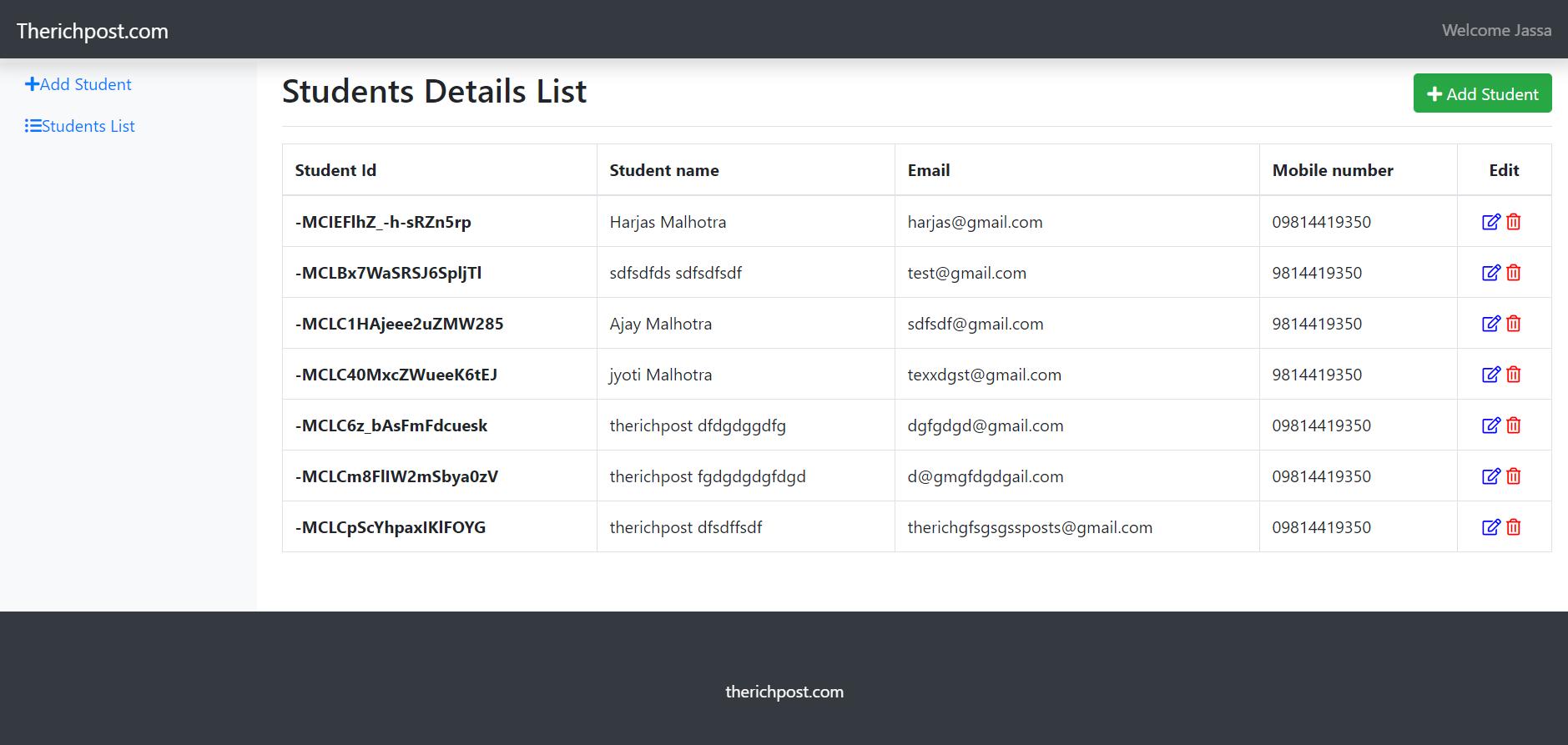 Angular 11 Crud with Firebase Database