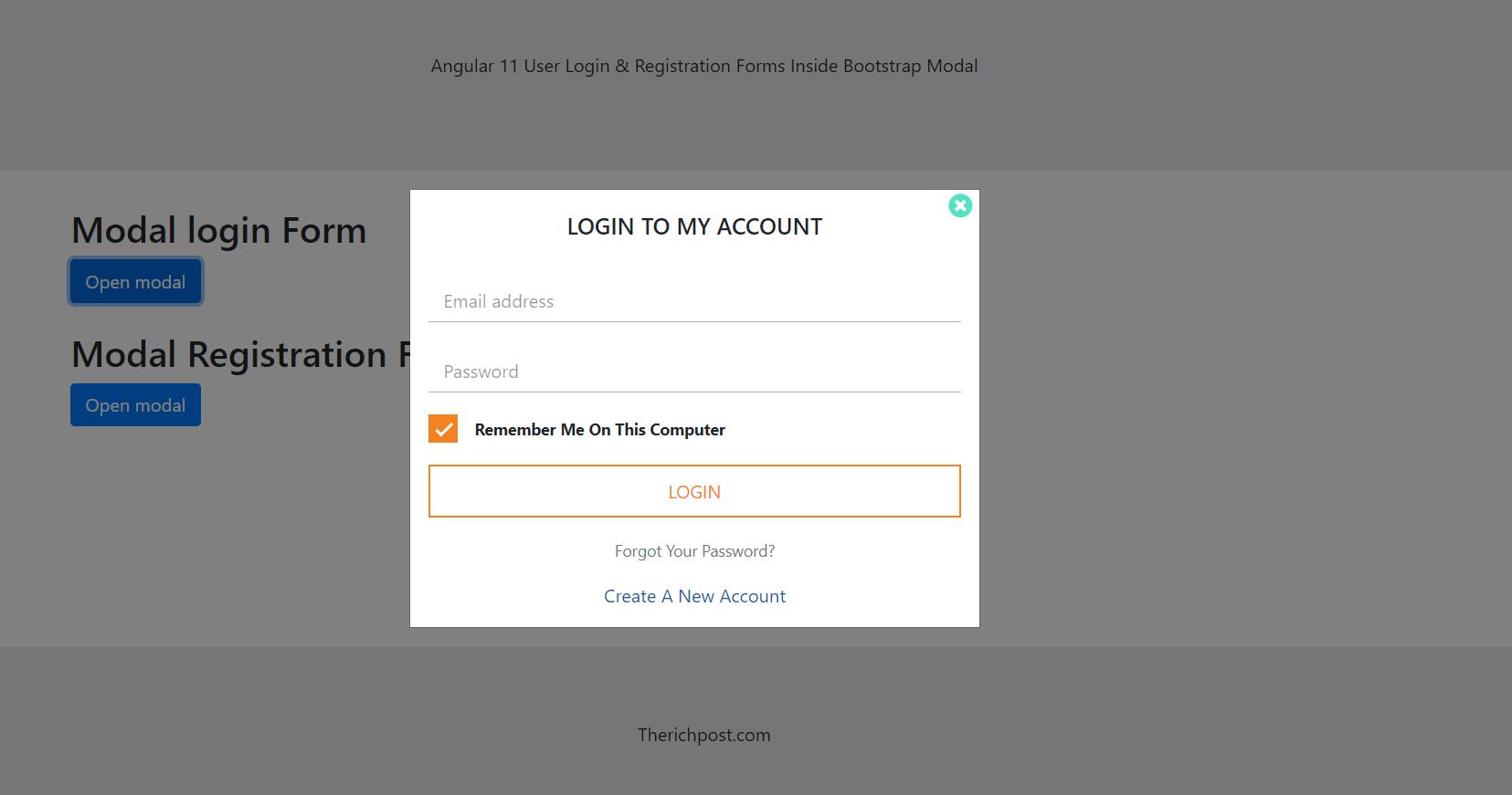 Angular 11 Login & Registration Forms inside Bootstrap Modal