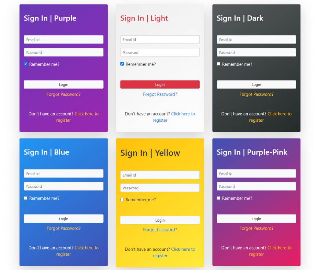 Angular 11 Sign In Form Designs
