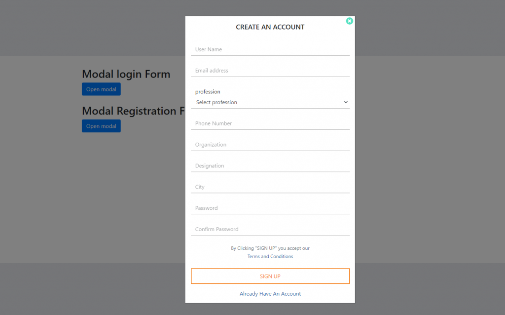 Angular 11 User Registration Form Inside Modal Popup