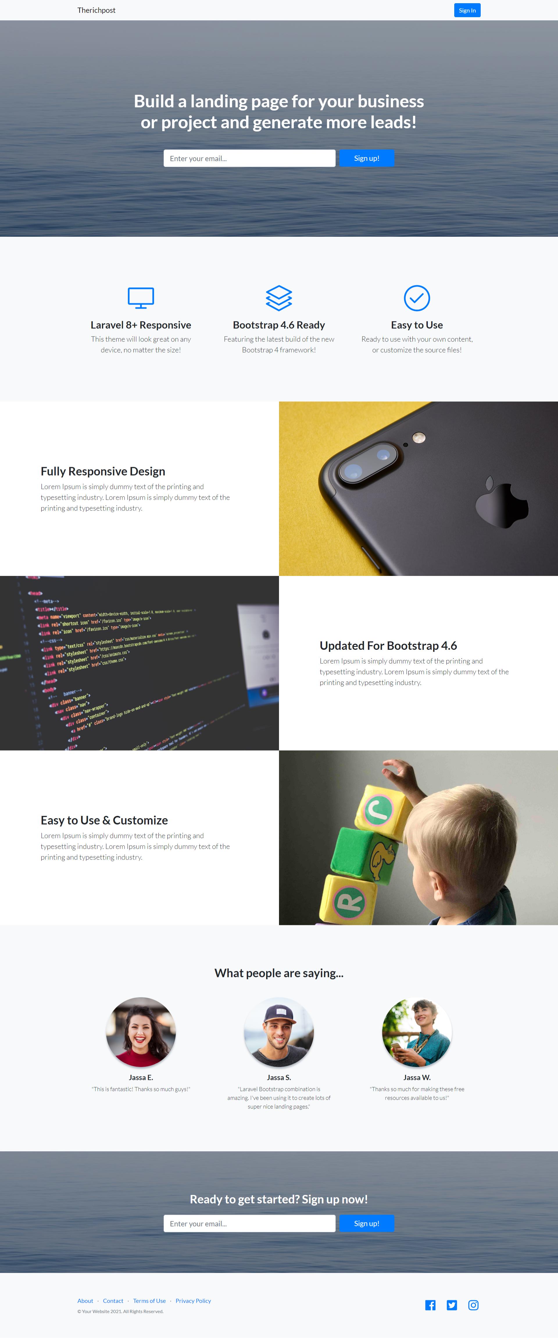 Build Professional Website in Laravel 8.16 Bootstrap 4.6