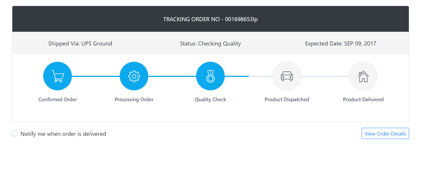 How to create shop order tracking page in Reactjs Application?