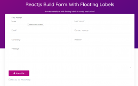 How to make form with floating labels in react js application?