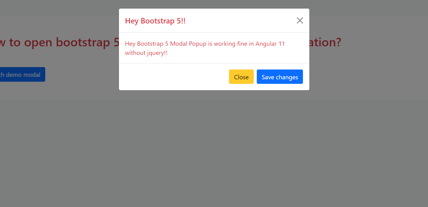 How to open bootstrap 5 modal popup on button click in Angular 11?