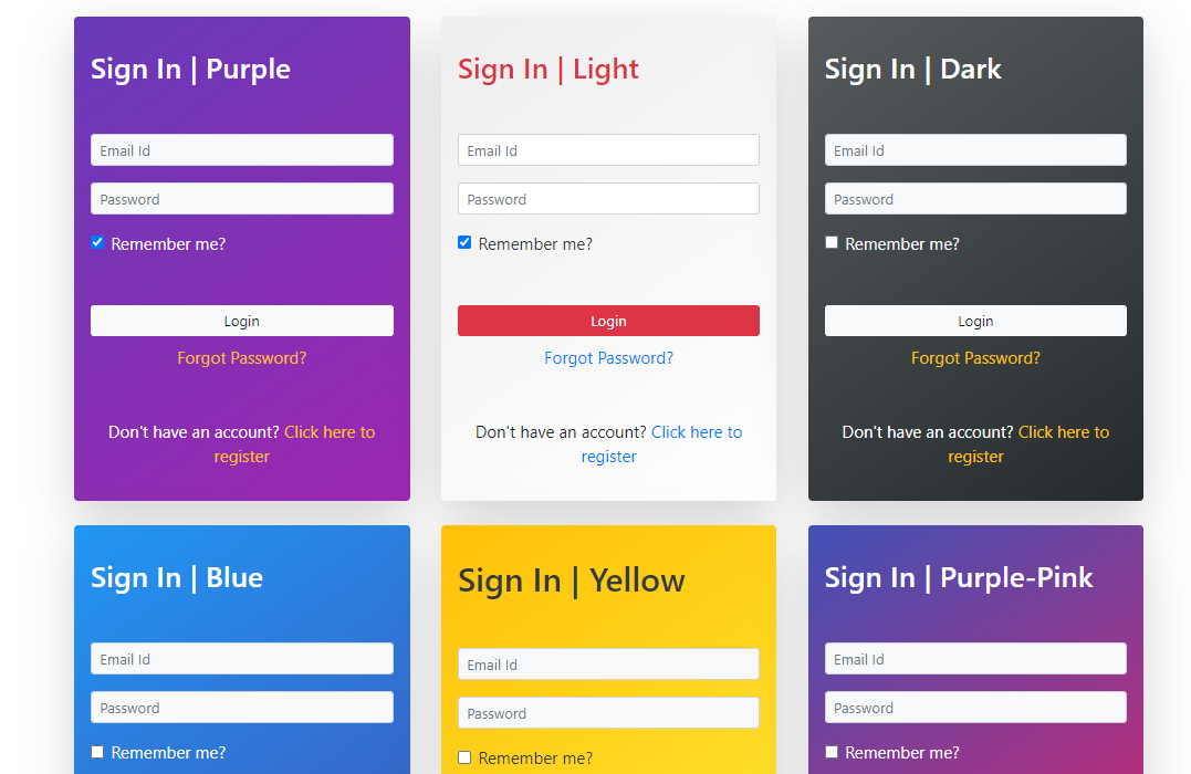 React Sign In Form Designs