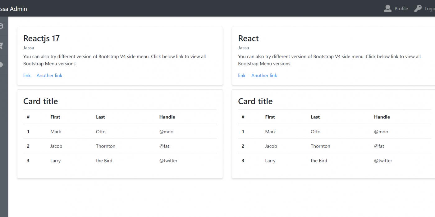 Reactjs Admin Dashboard Template Simple and Free