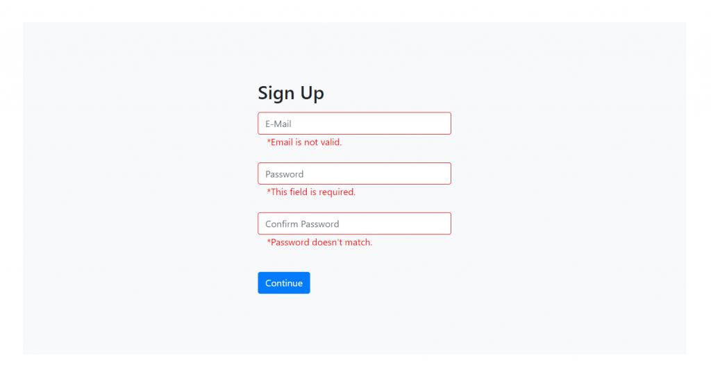 Reactjs Form Validation Working Demo