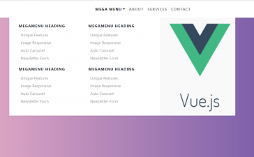 Vue 3 Bootstrap 4 Mega Menus Working Demo