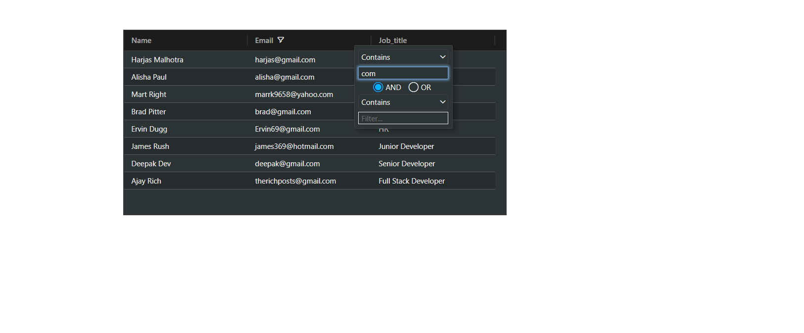 Angular 11 Ag Grid with Dynamic Data from Web API