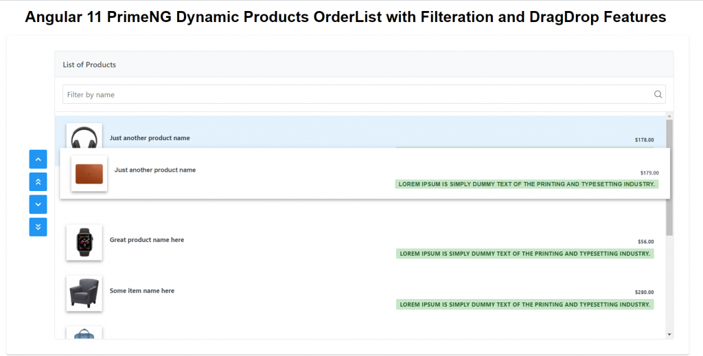 Angular 11 PrimeNG Dynamic Products Order List with Filtration and DragDrop Features