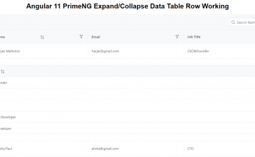 Angular 11 PrimeNG Expand Collapse Data Table Row Working Demo