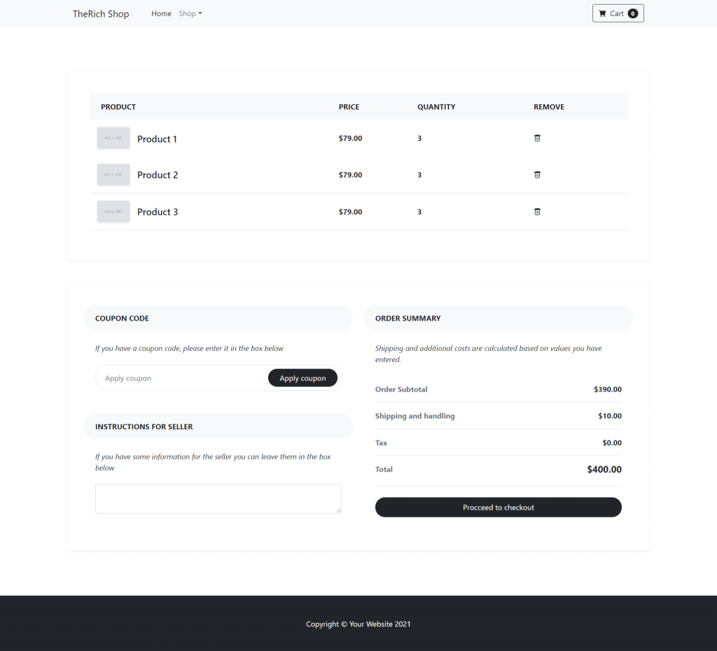 Angular 12 Bootstrap 5 Ecommerce Testing Project - Part 3 Cart Page