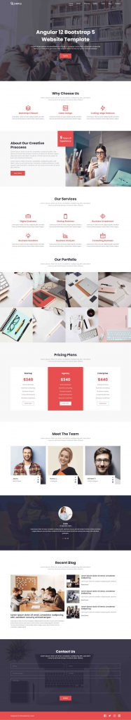 Angular 12 Bootstrap 5 Free Website Template for Business Websites
