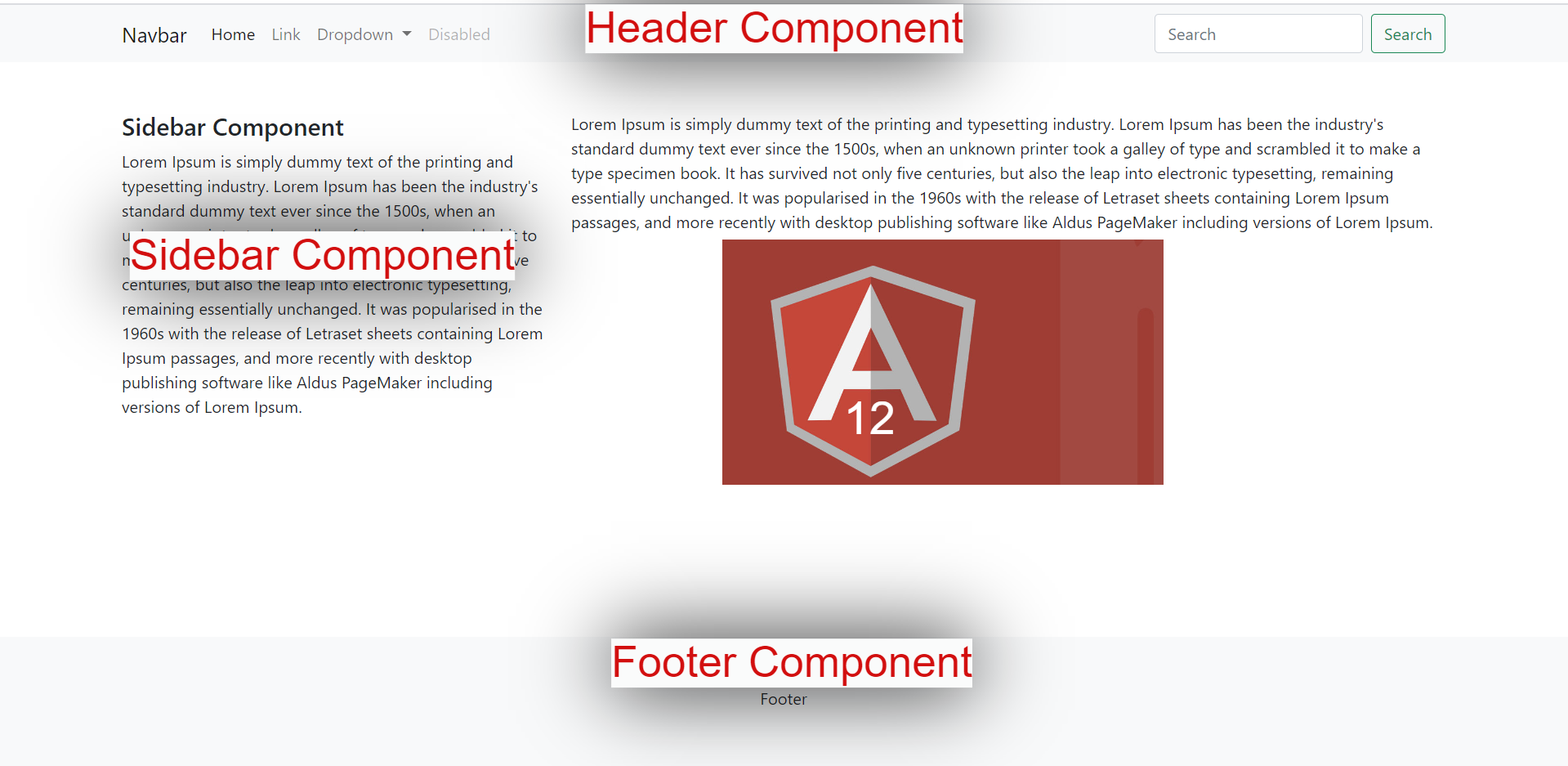 Angular 12 Create & Include Header Footer Sidebar Components