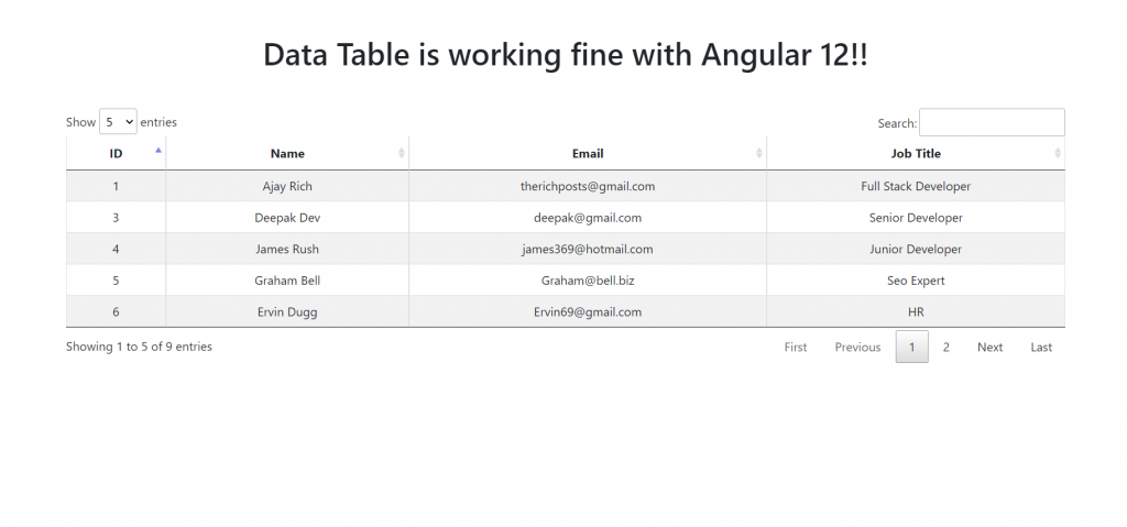 Angular 12 Datatable with Dynamic Data