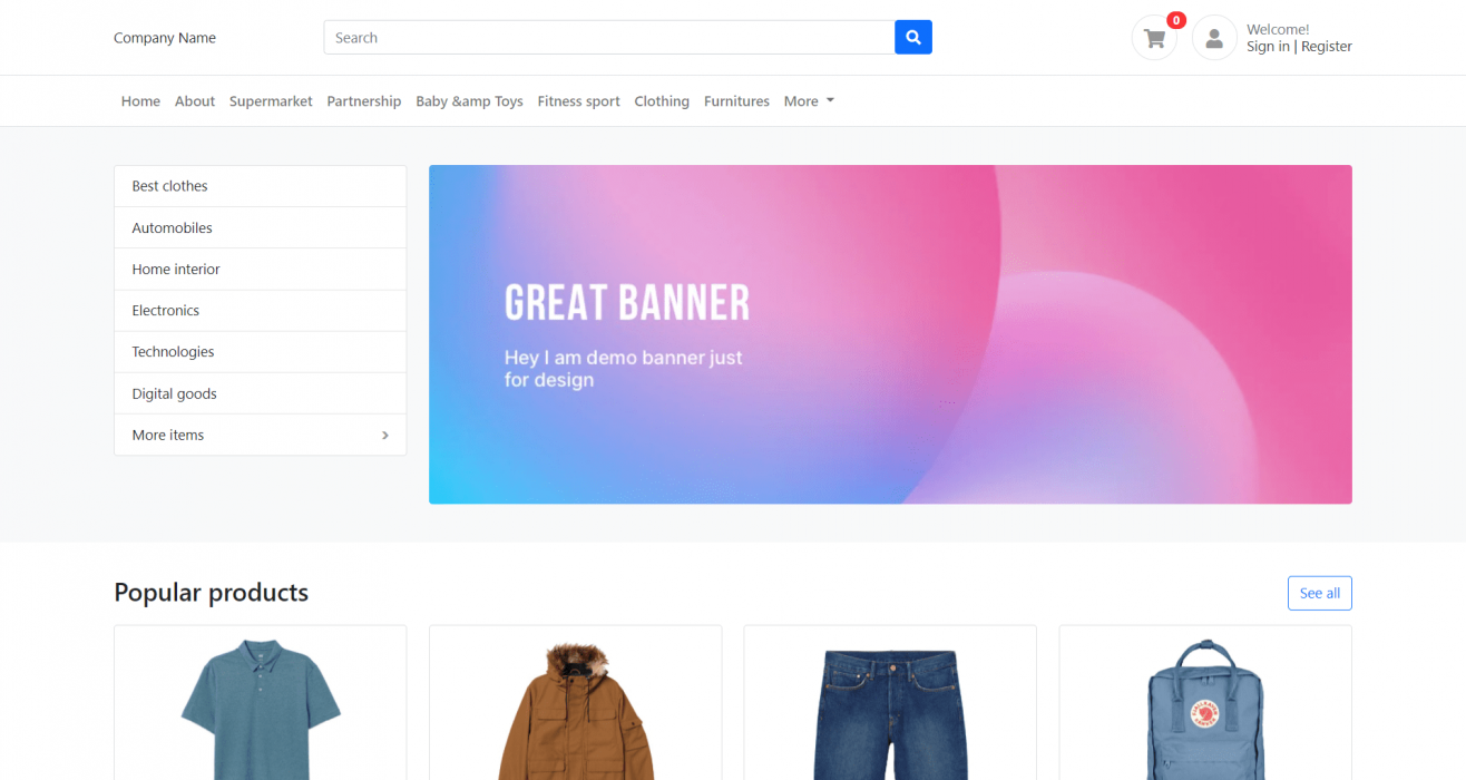 Angular 12 Ecommerce Template Free Download