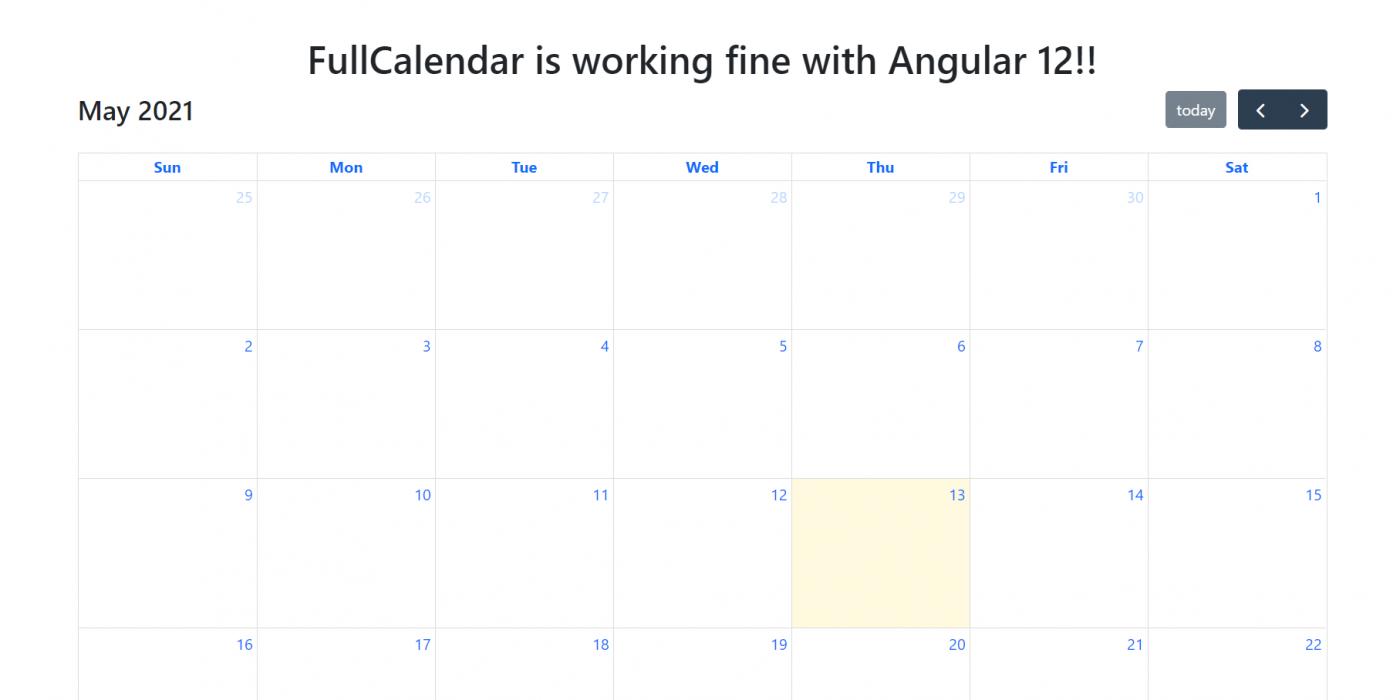 Angular 12 FullCalendar Working Demo