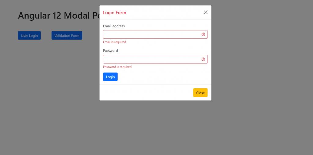 Angular 12 Modal Popup Forms Tutorial