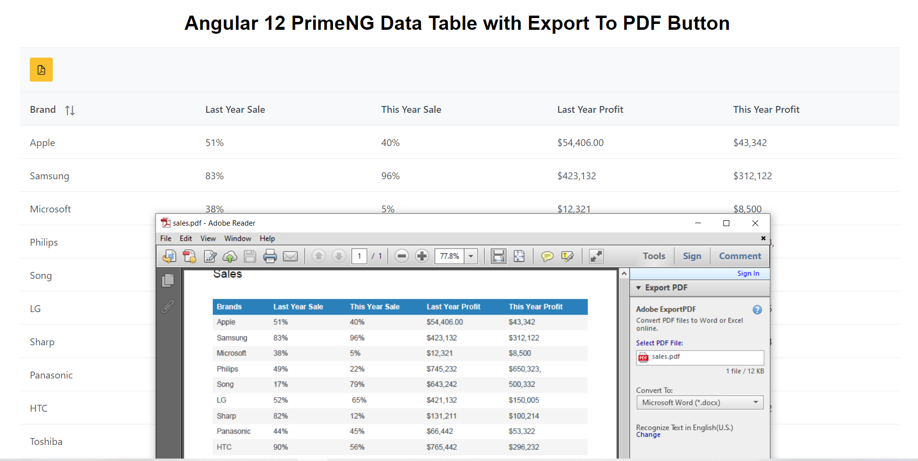 Angular 12 PrimeNG Data Table with Export to PDF Button