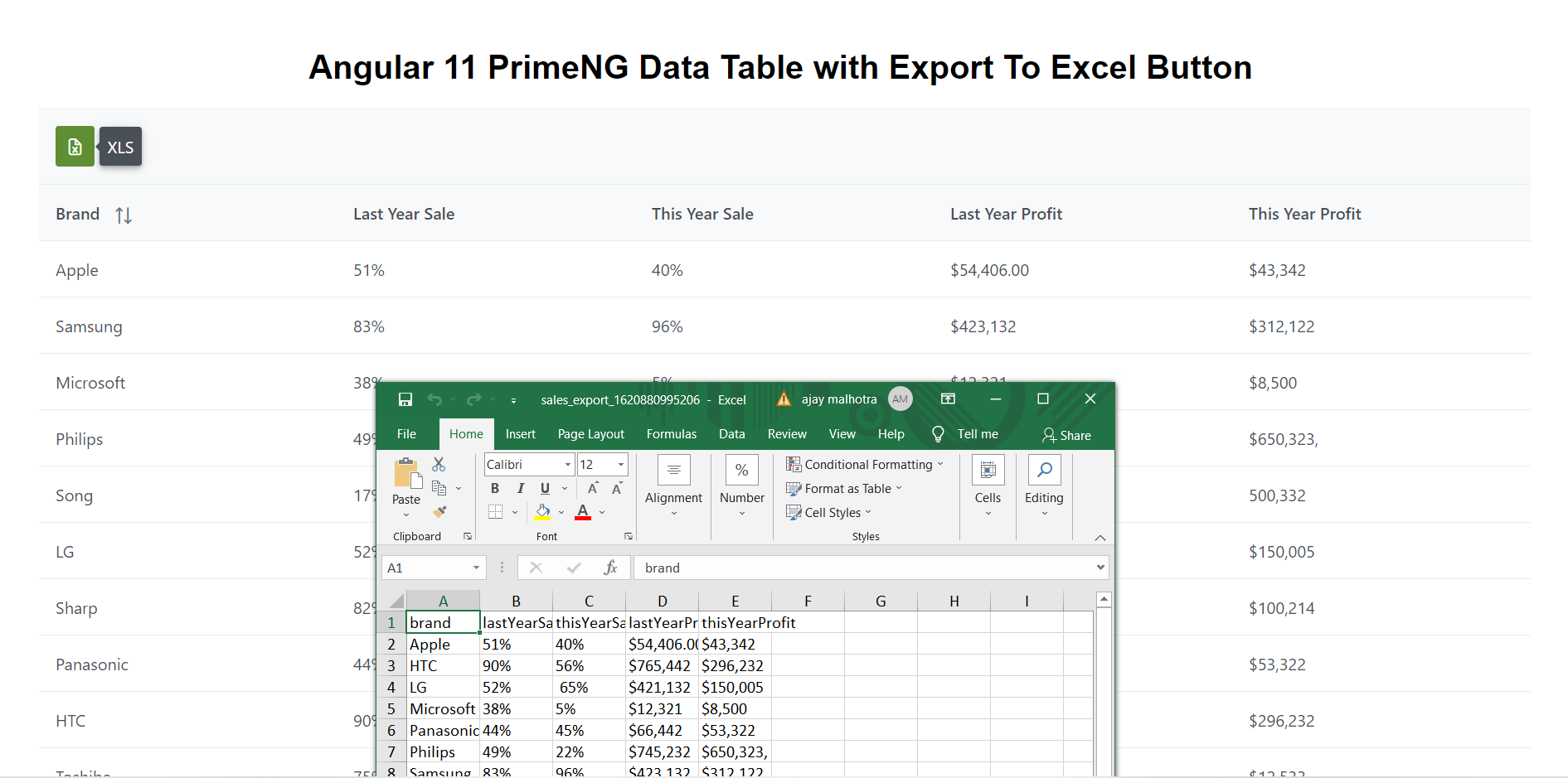 Angular 12&11 PrimeNG Data Table with Export to Excel Button Working