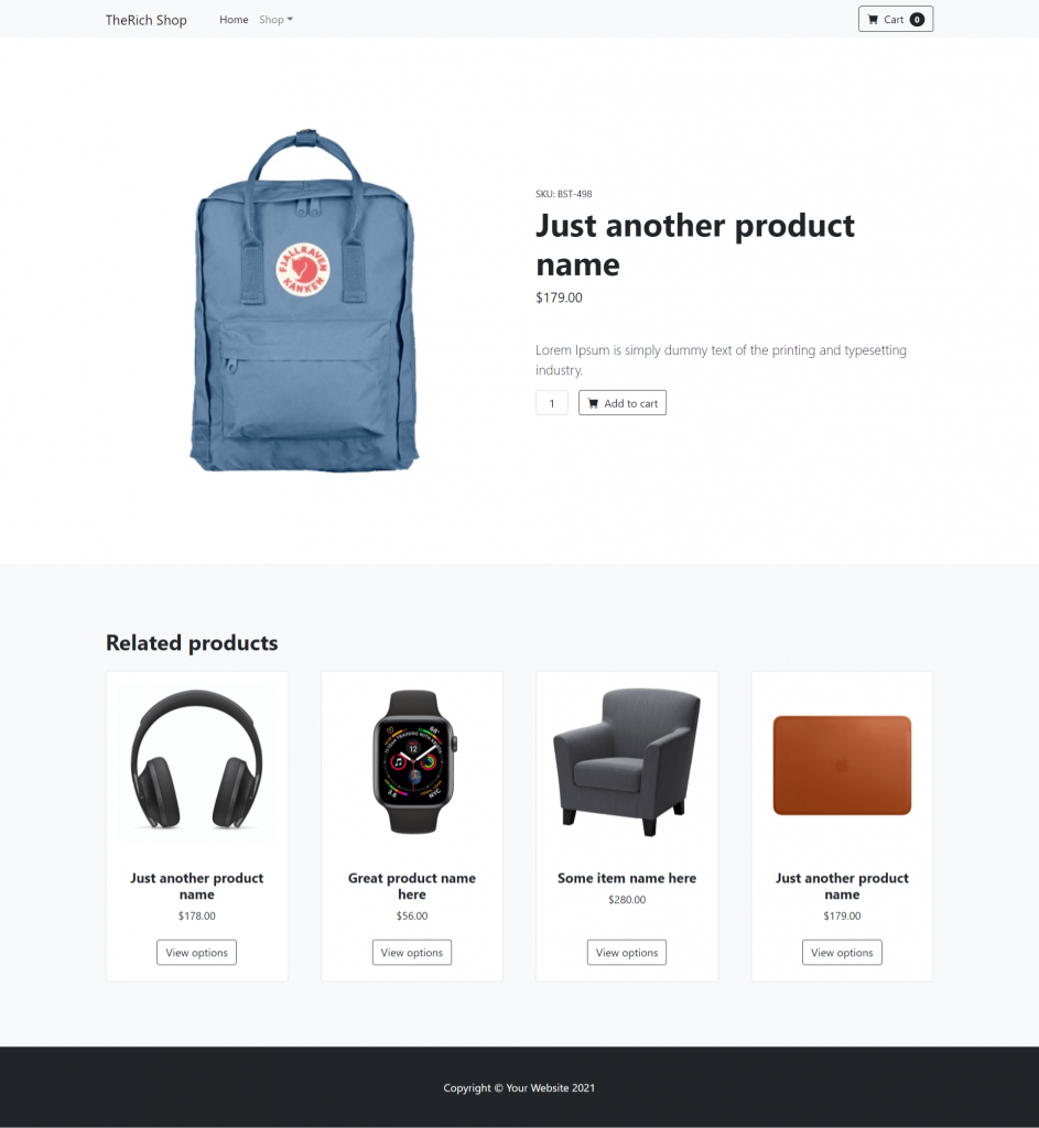 Angular Bootstrap Product Single Page Dynamically