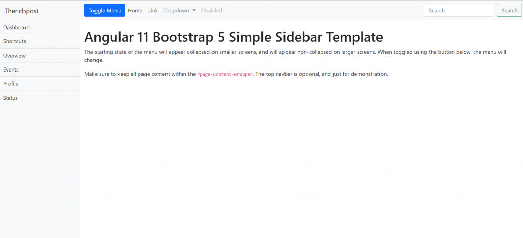 How to make simple sidebar template with Bootstrap 5 and Angular 11?