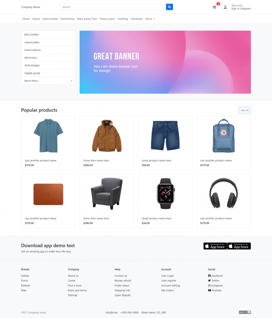 Ionic 5 Angular 11 Bootstrap 5 Ecommerce Template Free Download