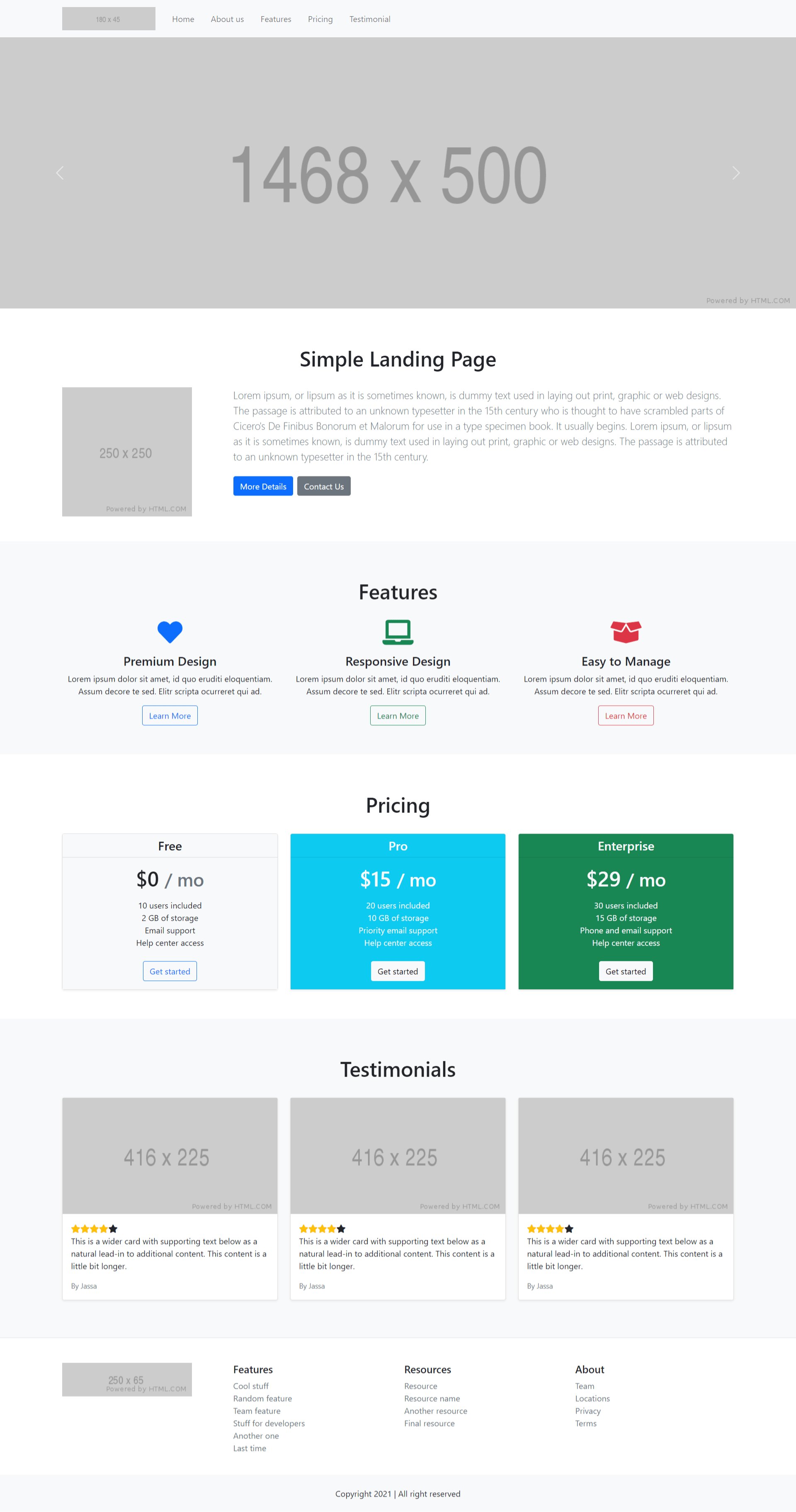 Reactjs Bootstrap 5 Free Responsive Template